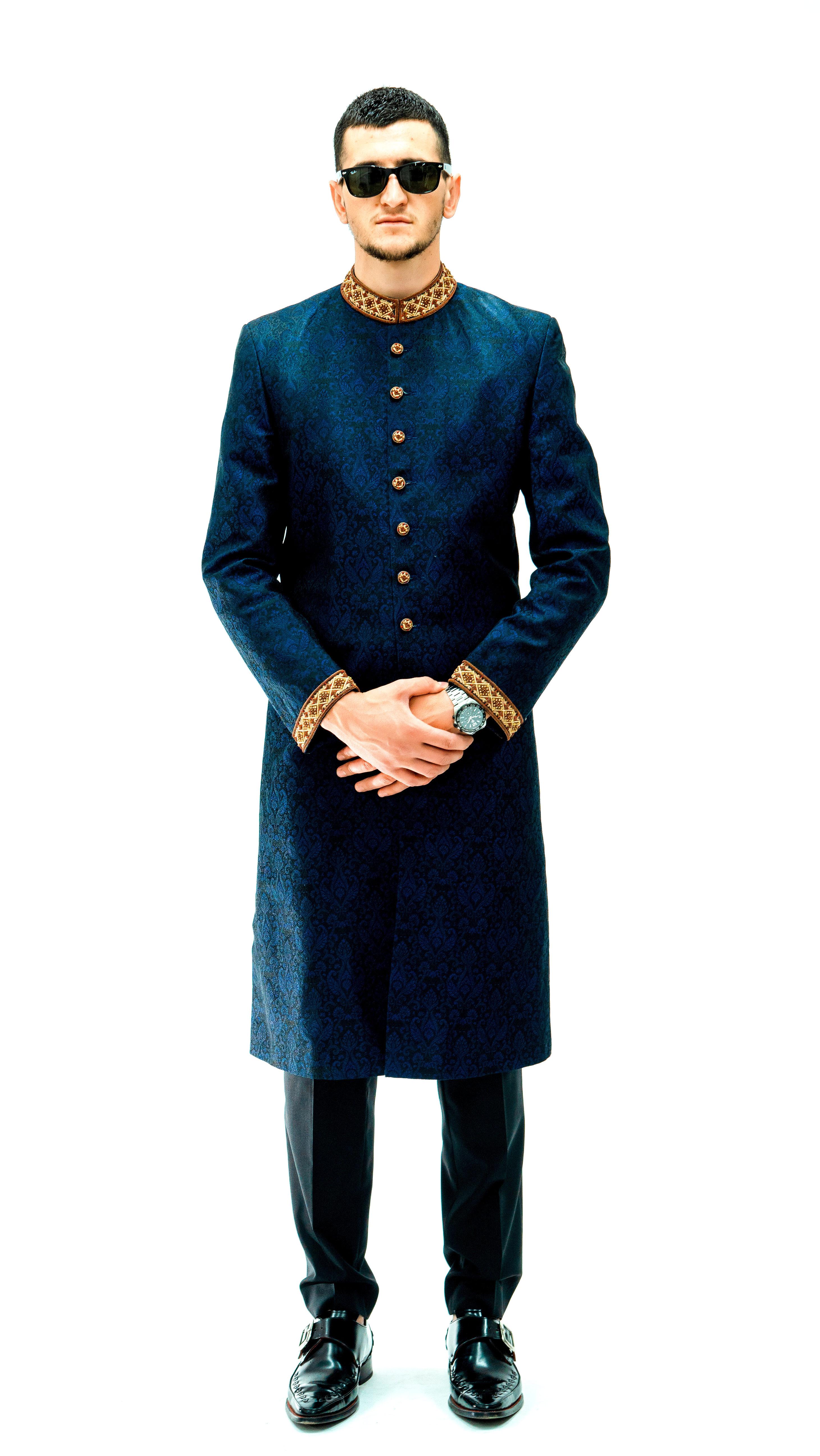 Blue Brocade Sherwani